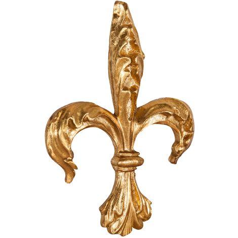 Friso de madera diseño mono acabado con efecto hoja con efecto oro envejecido talla L14xPR2,5xH19 cm Made in Italy