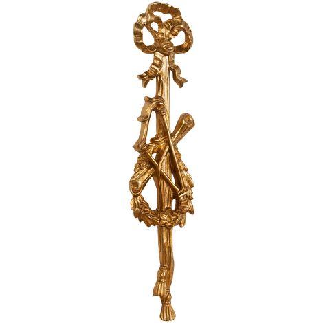 Friso de madera diseño mono acabado hoja con efecto oro envejecido talla L17xPR3,5xH73 cm Made in Italy