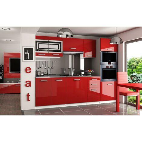FRITZ | Cuisine Complète Modulaire Linéaire L 240 cm 7 pcs | Plan de travail INCLUS | Ensemble armoires meubles de cuisine | Rouge - Rouge