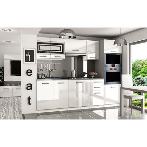 FRITZ | Cuisine Complète Modulaire Linéaire L 240cm 7 pcs | Plan de travail INCLUS | Ensemble armoires meubles cuisine | Blanc - Blanc