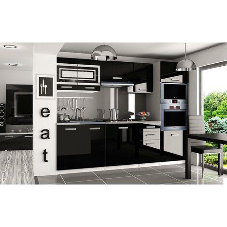 FRITZ | Cuisine Complète Modulaire Linéaire L 240cm 7 pcs | Plan de travail INCLUS | Ensemble armoires meubles de cuisine | Noir - Noir