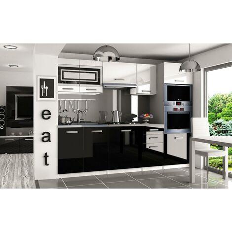 FRITZ | Cuisine Complète Modulaire Linéaire L 240cm 7 pcs | Plan de travail INCLUS | Ensemble meubles cuisine moderne - Blanc-Noir