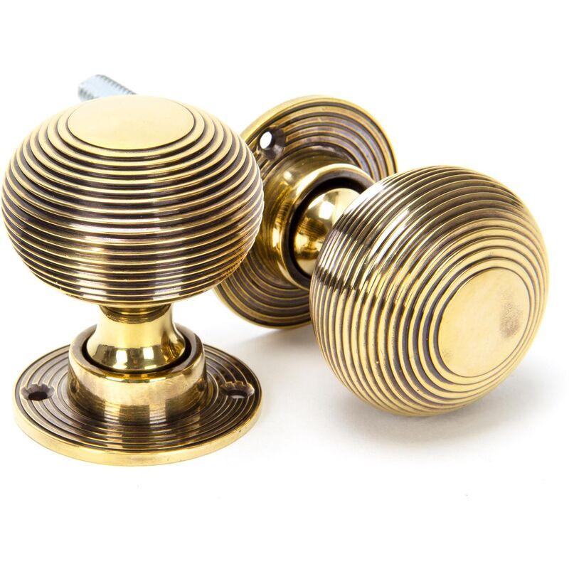 Image of Aged Brass Beehive Mortice/Rim Knob Set