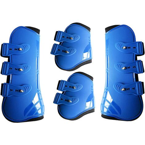 Front and Rear Leggings of the Horse-4 Neoprene Boots - Lightweight and Adjustable-Blue Riding Equipment Protection
