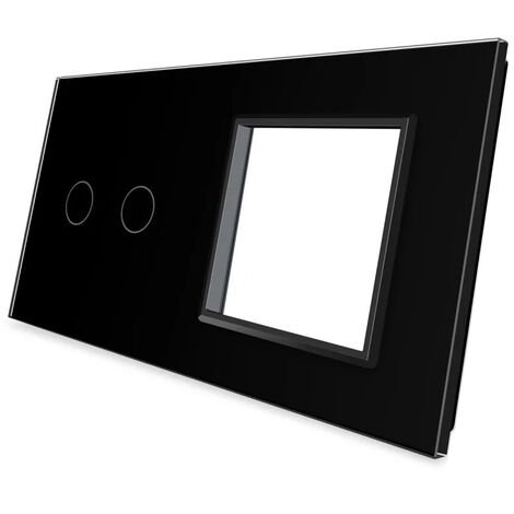 Frontal 2x cristal negro, 1 enchufe + 2 botones