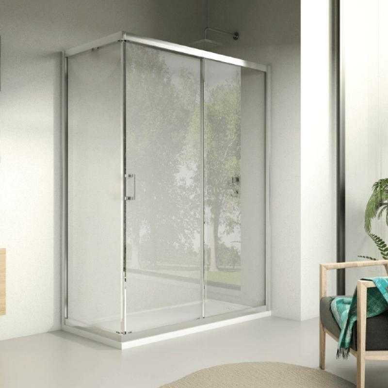 Mundilite - Frontal de ducha 1 Fijo + 1 Puerta Corredera DAVIS SIN DECORADO 110 cm Lateral fijo: 75 cm