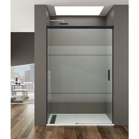 Frontal de ducha BASIC NEGRA fijo + corredera Decorado: Frost Medida: 95-100 cm