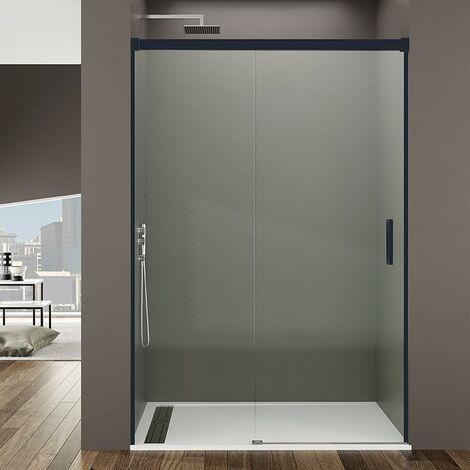 Frontal de ducha BASIC NEGRA fijo + corredera Decorado: Transparente