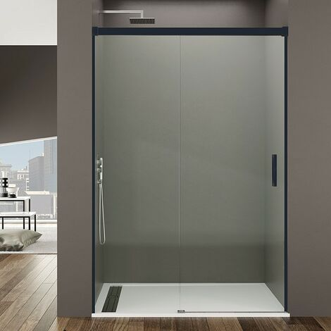 "main image of ""Frontal de ducha BASIC NEGRA fijo + corredera Decorado: Transparente"""