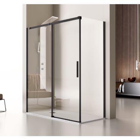 Frontal de ducha + Puerta Corredera LUNA Negro