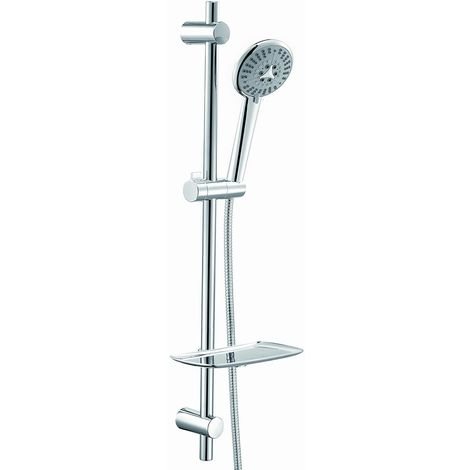 Frontline Athena round Side Showers and Riser Rail Shower Kit with 6 Function Hand Shower