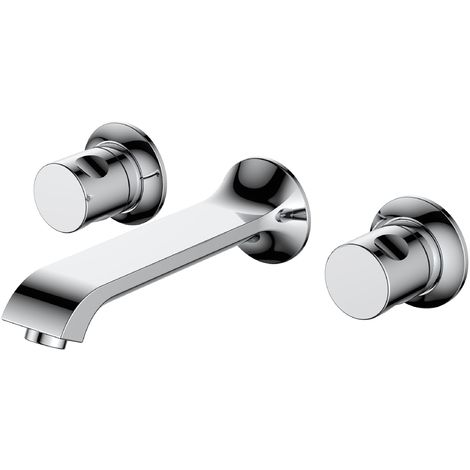 Frontline Basque wall Mounted Basin Mixer Tap with Waste