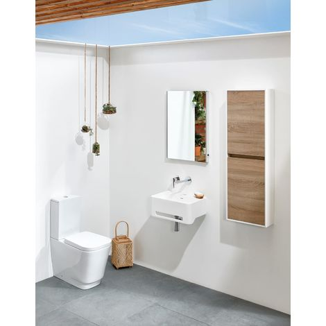 Frontline Cabanes Square 500mm Solid Wall Mounted Cloakroom Basin 1 Tap Hole