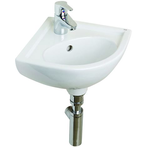 Frontline Compact 315mm Corner Round Wall Mounted Cloakroom Basin 1 Tap Hole