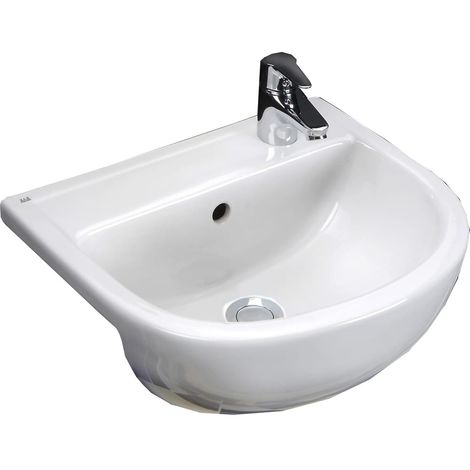 Frontline Compact 450mm Round Semi Recessed Basin 1 Tap Hole RH