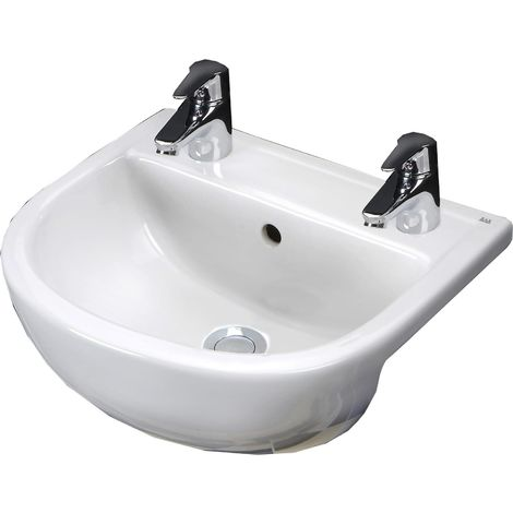 Frontline Compact 550mm Round Semi Recessed Basin 2 Tap Holes
