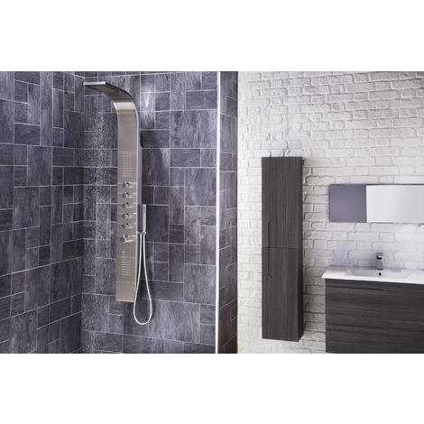 Frontline Dharma Exposed Thermostatic Shower Tower with Built-In Massage Jets and Water Blade
