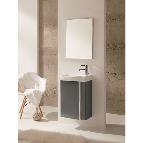 Frontline Elegance Gloss Grey 450mm Wall Mounted Cloakroom Unit Pack