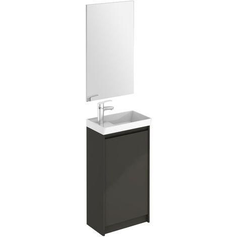 Frontline Enjoy 450mm FloorStanding Cloakroom Vanity Unit and Mirror Set Anthracite