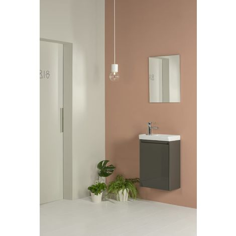 Frontline Enjoy 450mm Wall Hung Cloakroom Vanity Unit and Mirror Set Anthracite
