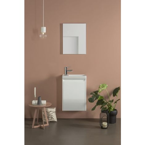 Frontline Enjoy 450mm Wall Hung Cloakroom Vanity Unit and Mirror Set Gloss White