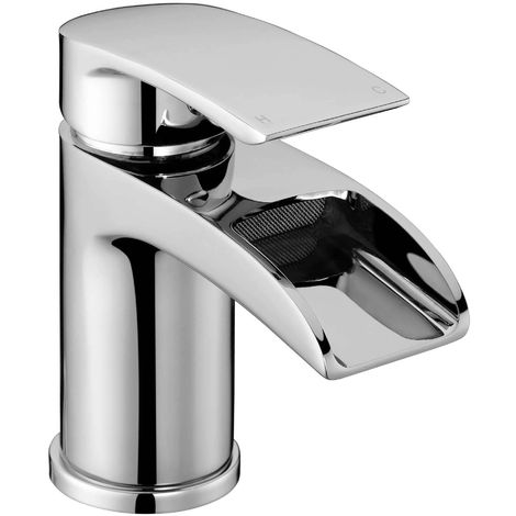 Frontline Flo Waterfall Deck Mounted Basin Mixer Tap with Waste