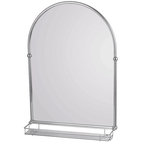 Frontline Holborn Traditional Arched 490 x 700mm Bathroom Mirror with Shelf