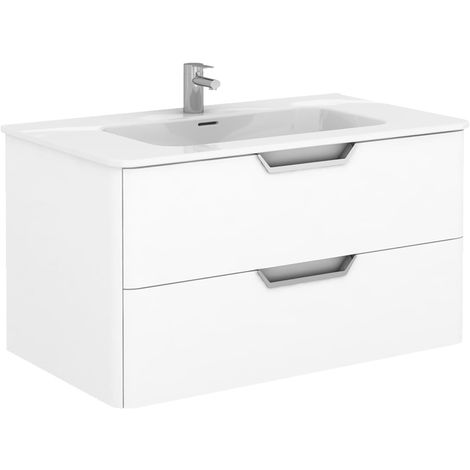 Frontline Life 1000mm 2 Drawer Wall Hung Vanity Unit Gloss White