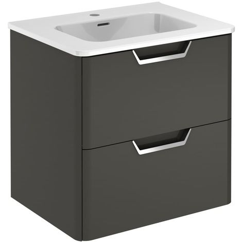 Frontline Life 600mm 2 Drawer Wall Hung Vanity Unit Anthracite