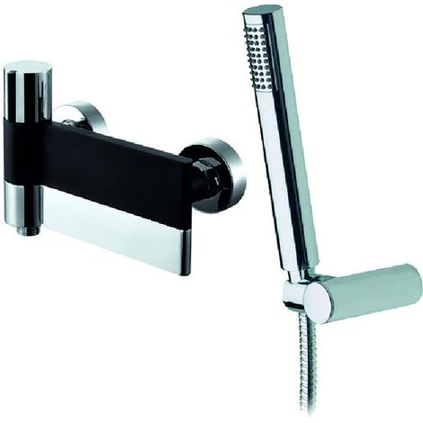 Frontline Line Black and Chrome Wall-Mounted Bath Shower Mixer Tap
