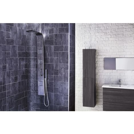 Frontline Pano Exposed Square Thermostatic Shower Tower with Massage Jets and Water Blade