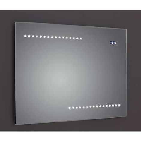 Frontline Quay BevelEdged 800mm LED Mirror with Clock Sensor and Demister