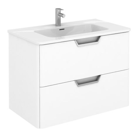 Frontline Royo Life 800mm Gloss White Wall Hung Vanity Unit