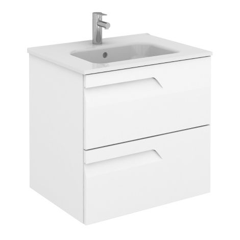 Frontline Royo Vitale 600mm Gloss White Wall Hung Vanity Unit