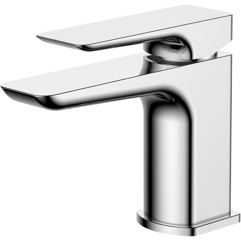 Frontline Sabre Square Deck Mounted Basin Mixer Tap with Waste