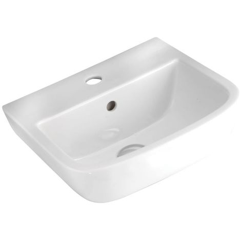 Frontline Series 600 Square 400mm Wall Mounted Cloakroom Basin 2 Tap Holes