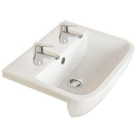 Frontline Series 600 Square Semi Recessed Basin 2 Tap Holes