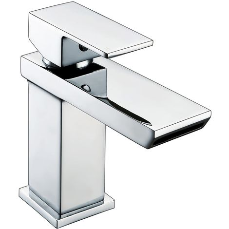 Frontline Sleek Mini Square Cloakroom Waterfall Deck Mounted Basin Mixer Tap with Waste