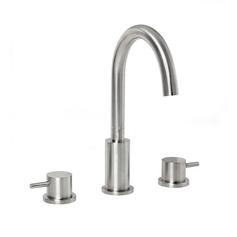 Frontline Solito Brushed Steel 3 Tap Hole Basin Mixer with Waste
