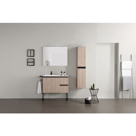 Frontline Structure 1200mm 2 Door 2 Drawer Floor Standing Vanity Unit with Solid Surface Basin Oak