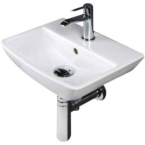 Frontline Summit Square 400mm Wall Mounted Cloakroom Basin 1 Tap Hole