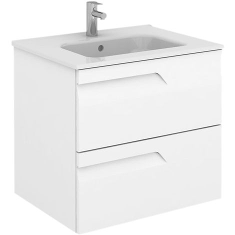 Frontline Vitale 600mm 2 Drawer Wall Hung Vanity Unit with Square Basin White Gloss