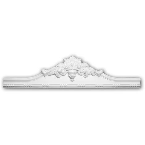 Fronton 154015 Profhome Encadrement de porte style Rococo-Baroque blanc