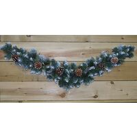 Frosted Glacier Christmas Swag Decoration - Snowy with Cones - 90cm