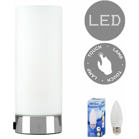 Frosted Glass Bedside Touch Table Lamp with USB Charging Port + 4W LED Dimmable Candle Bulb