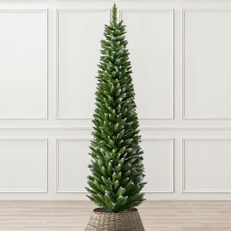 """main image of """"Artificial Christmas Tree Slim Frosted Snowy Spruce With Stand 5ft 6ft 7ft Christow"""""""