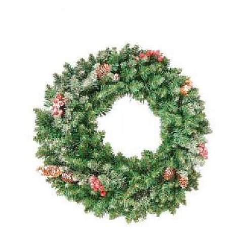Frosted Sherwood Christmas Wreath With Cones & Berries - 40cm