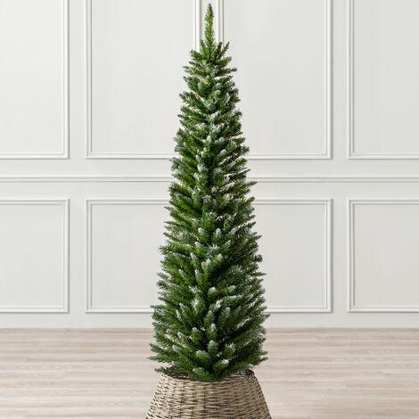"""main image of """"Artificial Christmas Tree Slim Pencil Frosted Snowy Spruce 5ft 6ft 7ft Christow"""""""