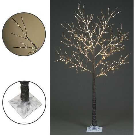 Frosted Twig Christmas Tree LED Illuminated Warm White Pre-Lit 180cm Garden Home