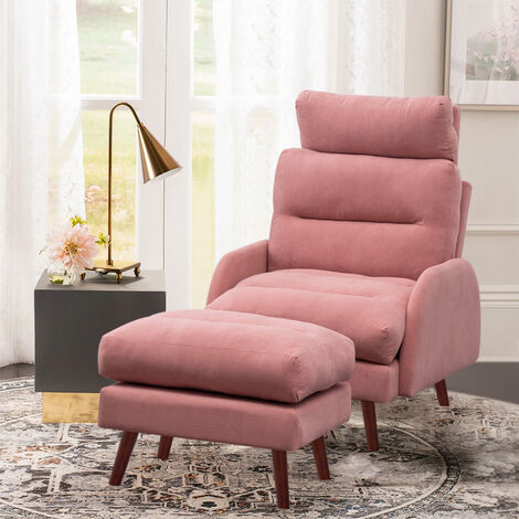 Frosted Velvet Recliner Chair with Footstool